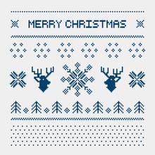 Pixel Deers And Christmas Tree...
