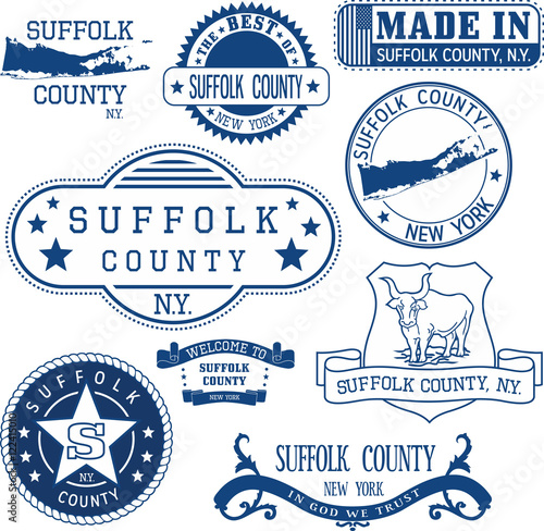 Fototapeta generic stamps and signs of Suffolk county, NY