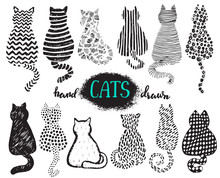 Set Of Hand Draw Textured Cats In Graphic Doodle Style