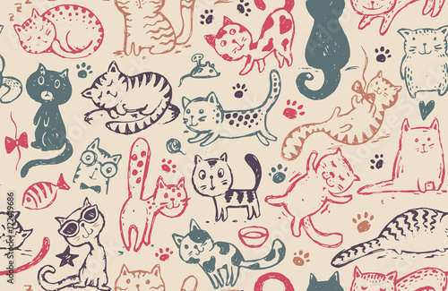 obraz PCV Vector seamless pattern with hand draw funny cats in sketch style
