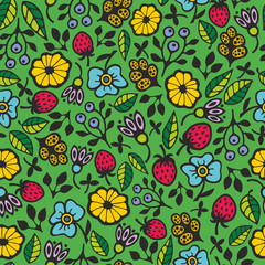 Seamless pattern with garden flowers. Creative floral background in vector. Retro endless illustration