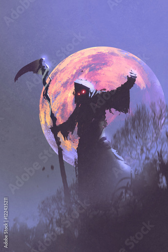 the death with scythe standing against night sky with full moon,halloween concept,illustration painting