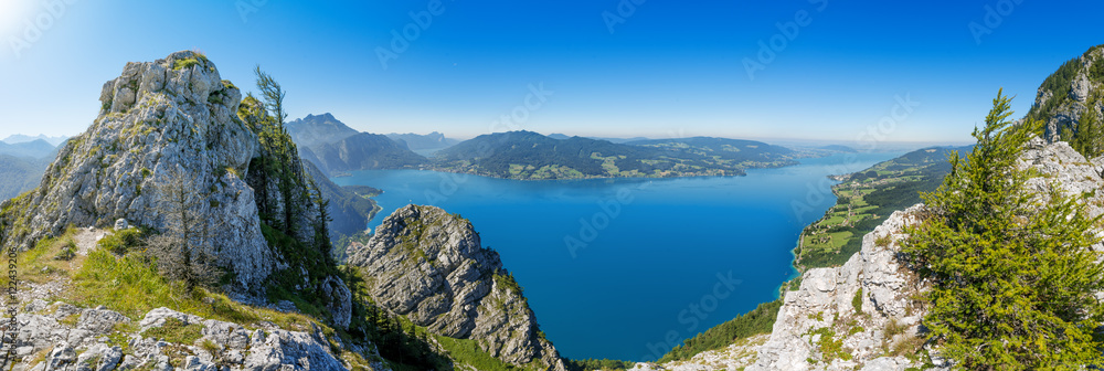 Fototapety, obrazy: Fantastic view over the Attersee seen from Schoberstein, Upperau