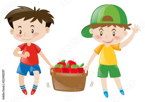 Deurstickers Regenboog Two boys carrying basket full of apples