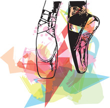 Abstract Illustration Ballet Pointe Shoes