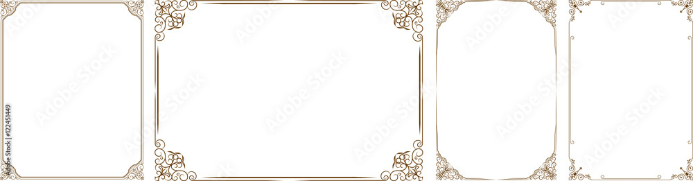 Fototapeta Vector set of gold decorative horizontal floral elements, corners, borders, frame