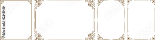 Valokuva  Vector set of gold decorative horizontal floral elements, corners, borders, fram