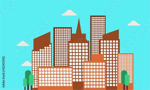 Spoed Foto op Canvas Turkoois BEautiful landscape city buildings of vector
