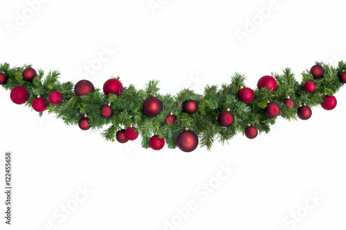 Fotografia  Christmas Garland with Red Baubles