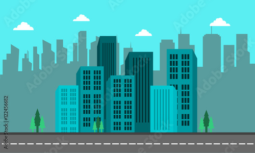 Spoed Foto op Canvas Turkoois Landscape of city cuilding and street vector