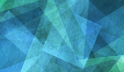 Fototapeta Industrialny blue and green background with triangle layers in abstract geometric pattern