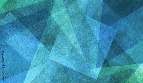 Fototapeta blue and green background with triangle layers in abstract geometric pattern obraz