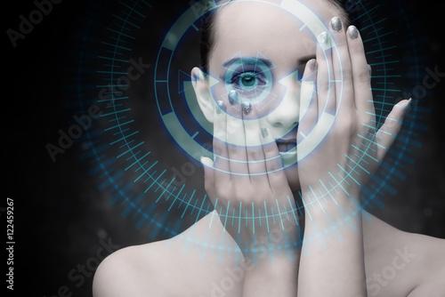 Fotografie, Obraz  Techno woman in futuristic concept