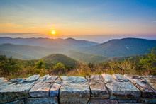 Sunset Over The Blue Ridge Mountains, From Skyline Drive, In She