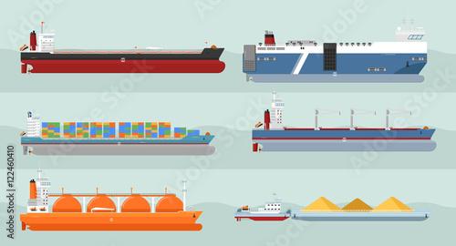 Valokuva  Set of cargo ships vectors