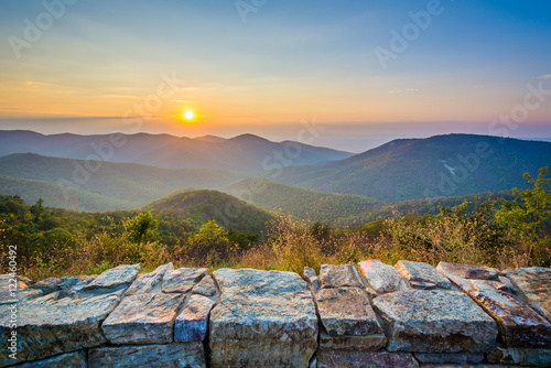 Tablou Canvas Sunset over the Blue Ridge Mountains, from Skyline Drive, in She