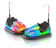 Pair Of Colorful Electric Bumper Car Over White Reflective Background