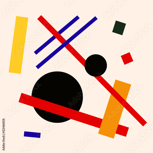 Vászonkép Abstract suprematism composition, square flat illustration