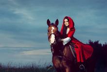 Red Hood Princess Riding A Horse