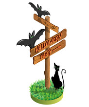 Wooden Sign, Bat And Black Cat In The Grass,Halloween Party Text. Vector Illustration. 3D Isometric View.