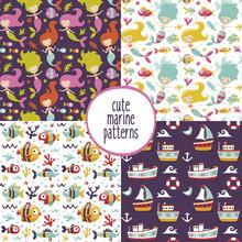 Cute Set Of Marine Patterns Wi...
