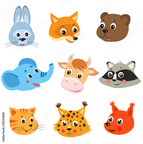 Cartoon Animal Vector Set On White Background Animal Face Mask