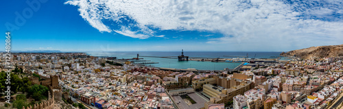 Panoramic cityscape of Almeria, view from the Alcazaba (Castle), Spain