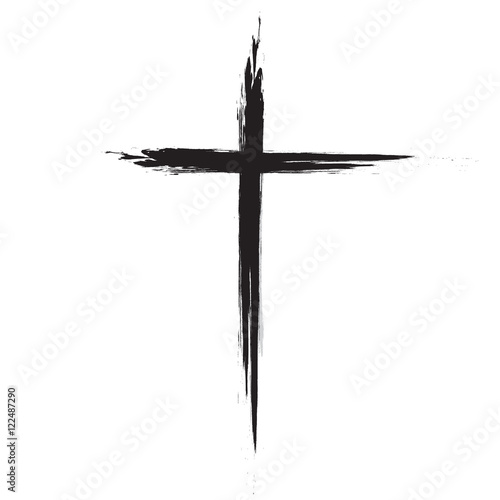 Fotografie, Obraz  Hand drawn black grunge cross icon, simple Christian cross sign, hand-painted cross, Cross painted brushes