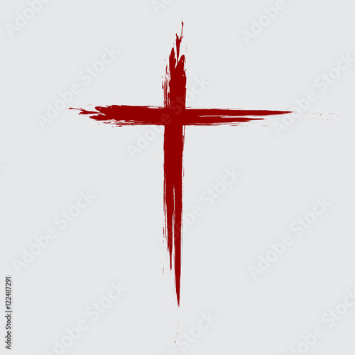 Fotografie, Tablou Hand drawn black grunge cross icon, simple Christian cross sign, hand-painted cross, Cross painted brushes