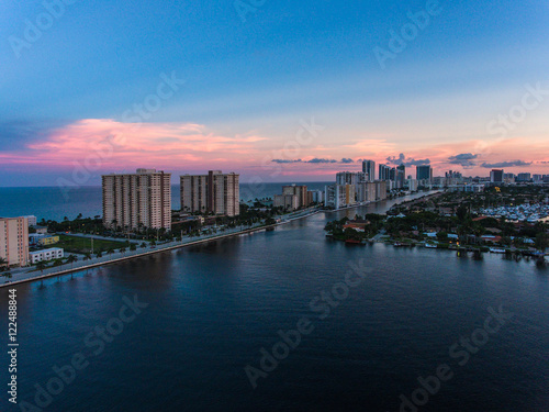 Garden Poster Napels Aerial view of Miami Hollywood with hotels and apartments