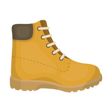 Hiking Boots Icon In Cartoon S...
