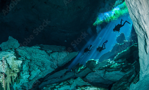 Fotomural  Divers descending into the waters of a cenote on the west coast of mexico's Yuca