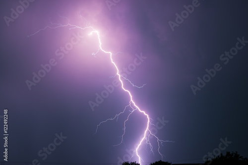 Foto op Canvas Onweer Summer storm with thunder, lightnings and rain.