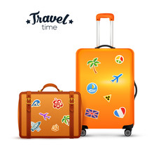 Orange And Leather Vector Traditional Wheel Suitcases With Stickers