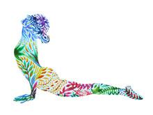 Upward Facing Dog Yoga Pose, Urdhva Mukha Svanasana, Flower Floral  Pattern Watercolor Painting Hand Drawn Illustration Design