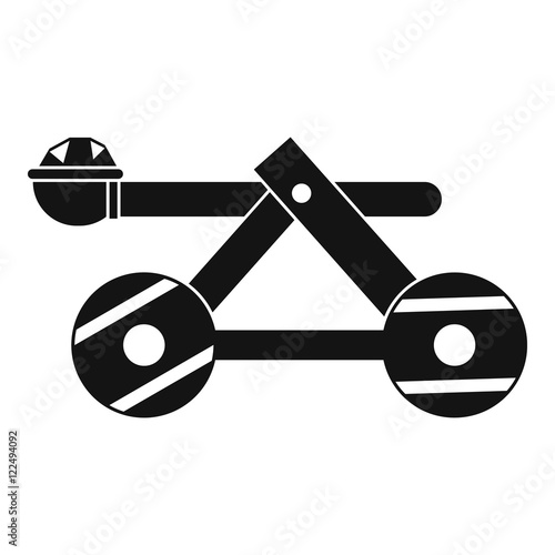 Fotografía  Ancient wooden catapult icon in simple style on a white background vector illust