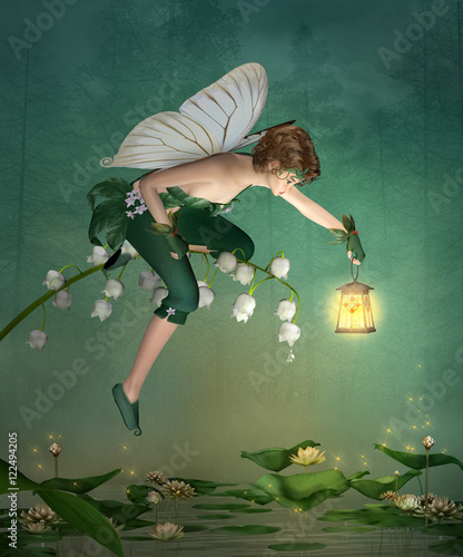Photo  Little elf with lantern sits on a lily of the valley