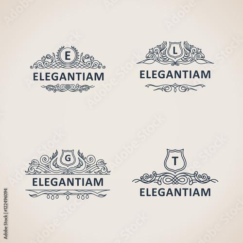 Photo  Calligraphic flourishes luxury monogram set