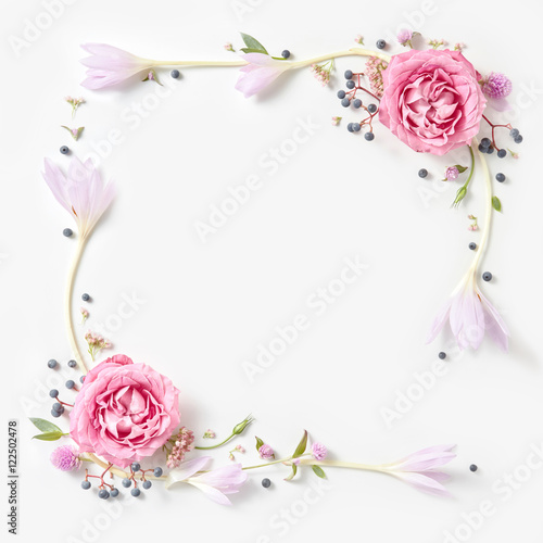 Foto op Canvas Bloemen Fresh pink roses frame border isolated
