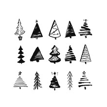 Hand Drawn Christmas Tree. Set Of Sketched Illustrations Of Firs. Black Ink And Brush Sketches Of Spruce For Cards And Package Design. Vector Elements.