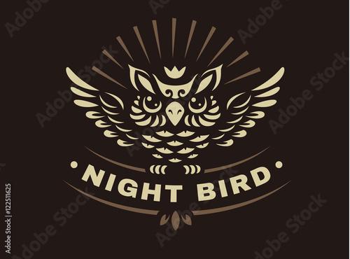 Photo Stands Owls cartoon Vector owl illustration - abstract emblem