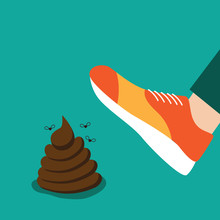 Person Stepping On A Pile Of Poop Flat Design. EPS 10 Vector.