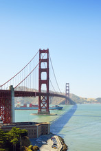 USA, California, San Francisco, Container Ship Under Golden Gate Bridge