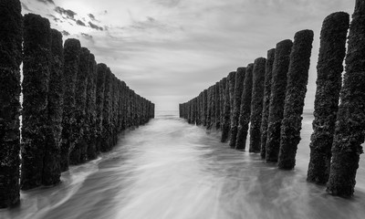 breakwater in black and white colors