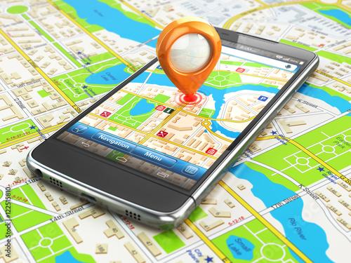 Fotografia Mobile GPS navigation travel concept. Smartphonewith pin on city