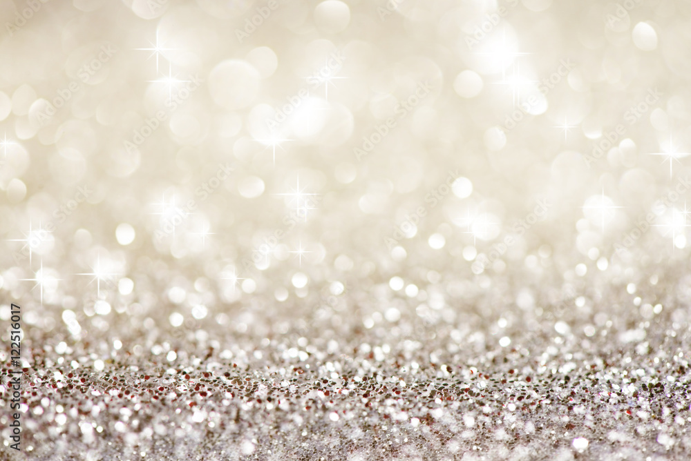 Fototapety, obrazy: Silver white glittering Christmas lights. Festive abstract glitter bokeh background