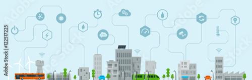 Foto auf AluDibond Licht blau Smart City 3