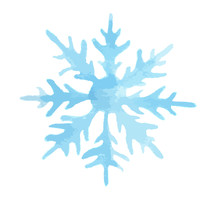 Isolated Watercolor Snowflake. On White Background. Symbol Of Winter. Beautiful Decoration.