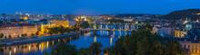 Prague Panorama City Skyline At Night