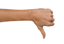 Isolated Empty Open Woman Female Hand In A Thumb Down Position On A White Background